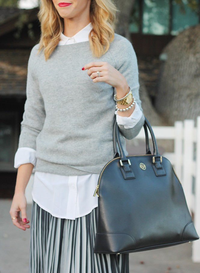 tory burch robinson dome satchel, black white and grey outfit, black and white outfit, striped skirt, MAC riri woo lipstick,