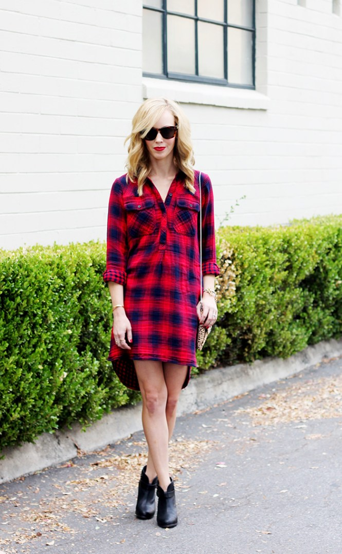 plaid shirt dress1