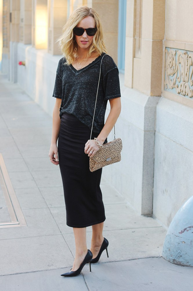 oversized tee with skirt, Leith shirt, shirt and tube skirt, reiss leopard clutch