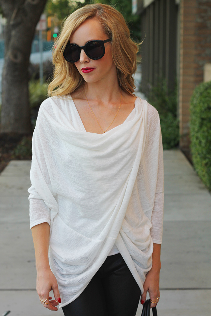 white sweater, fall style, azalea sf, light sweaters, karen walker super duper strength, mom style blog