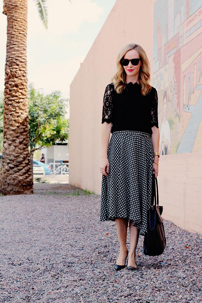 Rebecca Minkoff MAB tote, Best work bags, black work bag, YSL lipstick #25, midi skirt, black and white midi skirt, piperlime midi skirt, celine sunglasses