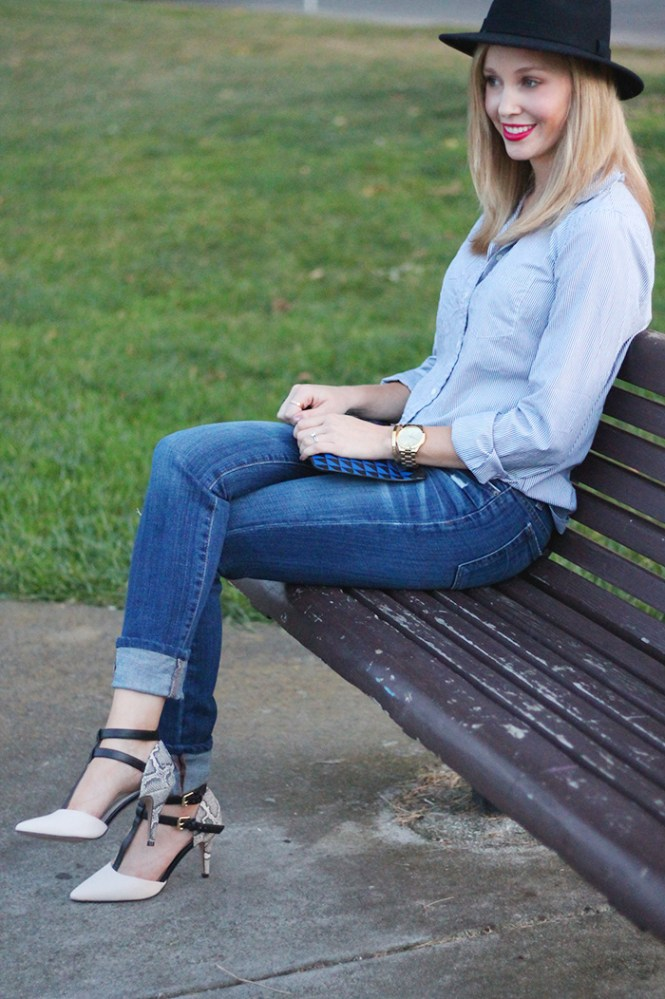 J.crew stripe button down, ripped skinny jeans, distressed denim jeans, outfits for moms