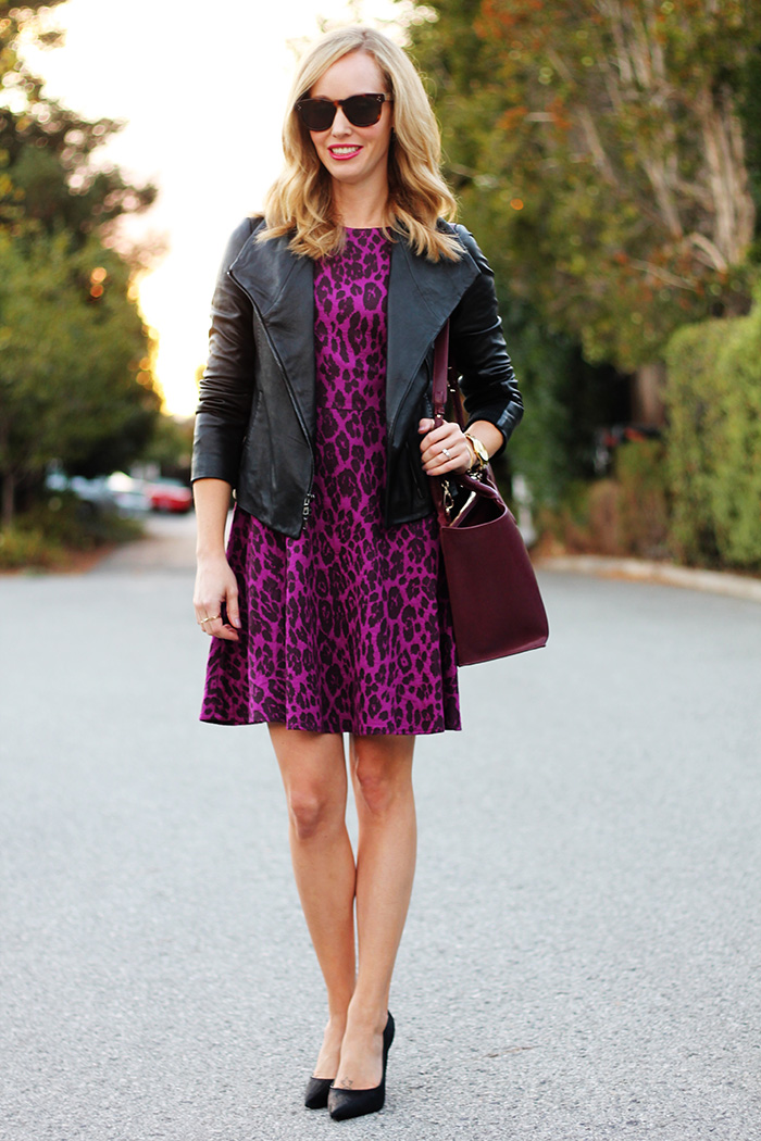 animal print dress, mom style bloggers, mom style, office style, vince black leather jacket, black leather jacket, piperlime dresses, 4.collective leopard print dress