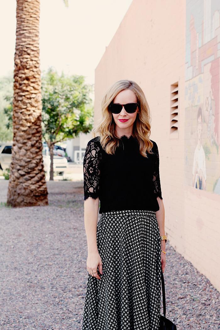 medium length hair styles, lace sleeve shirt, work blouse, YSL lipgloss #25,