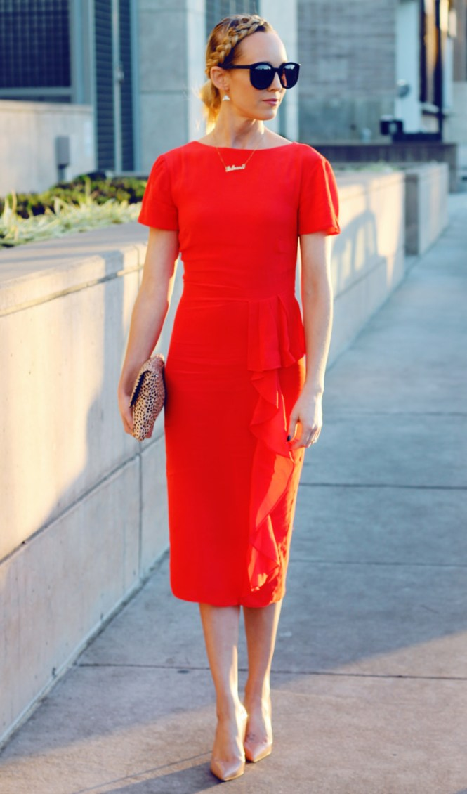 red pencil dress with waterfall detail