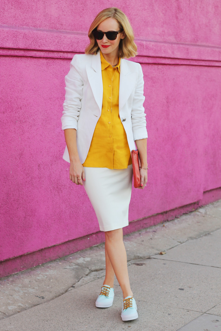 pencil skirt and sneakers