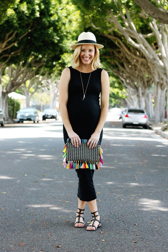 colorful clutch with a black dress