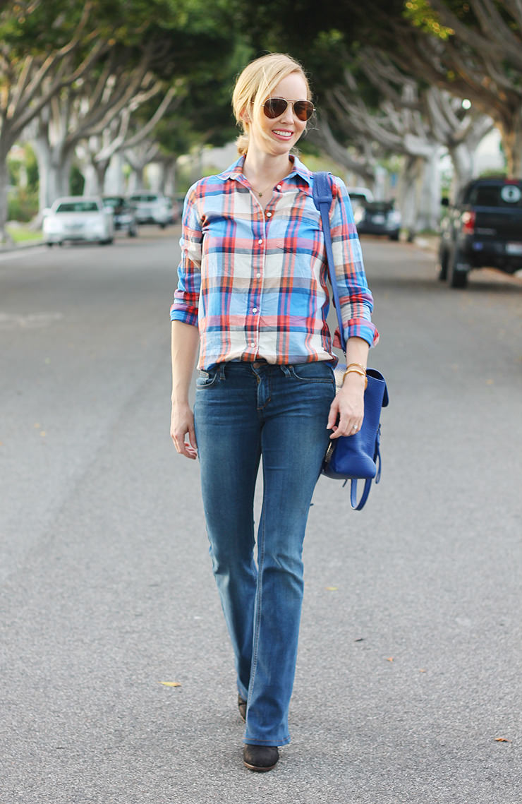 flares with plaid