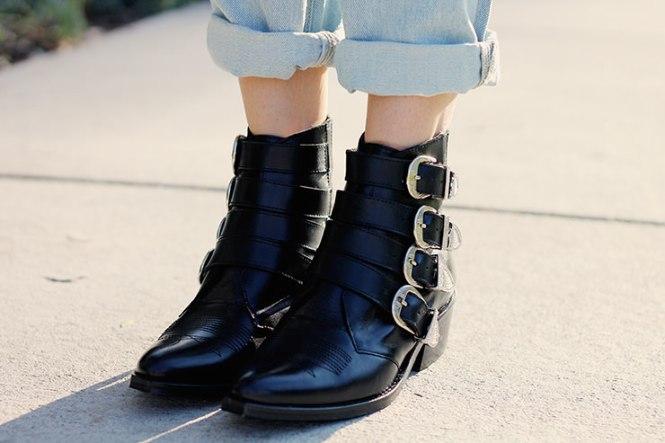 Black western booties
