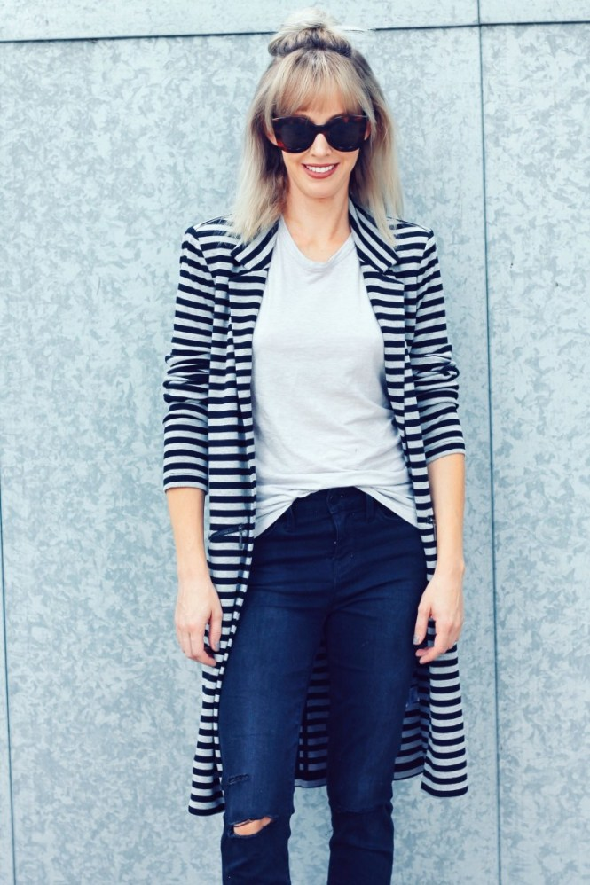 striped longline blazer