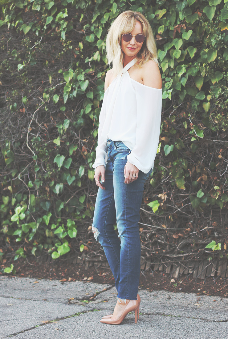 cold shoulder shirt white