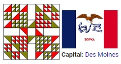 Quilt pattern for the state of Iowa`
