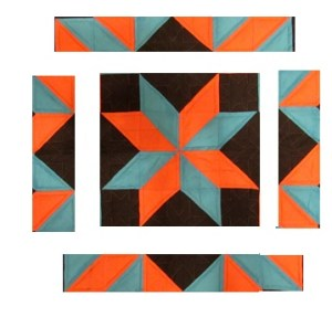 Orange and Blue Star quilt pattern