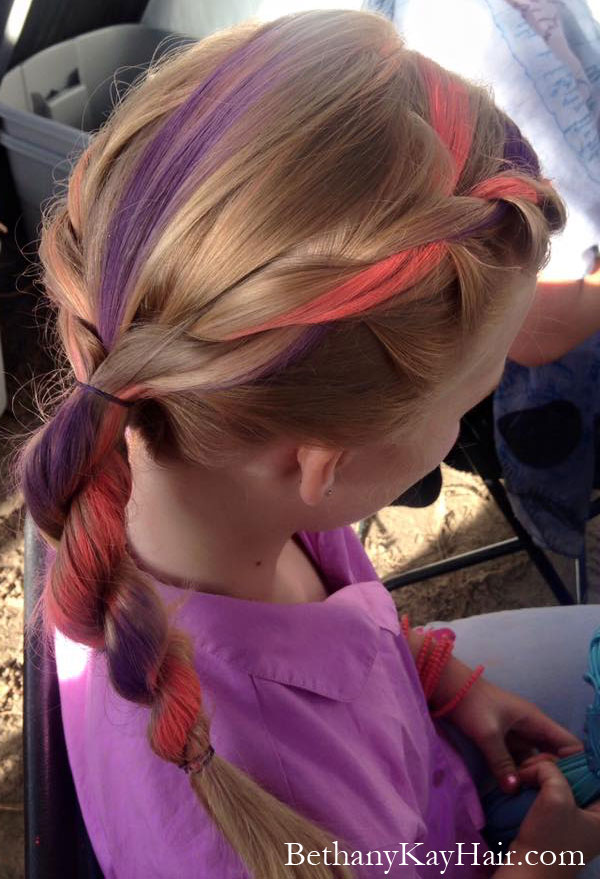 little girls style with hair chalk in her braid. So cute!
