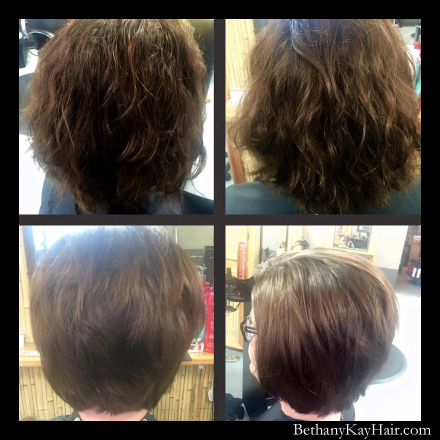 Short and sassy before and after hair cut