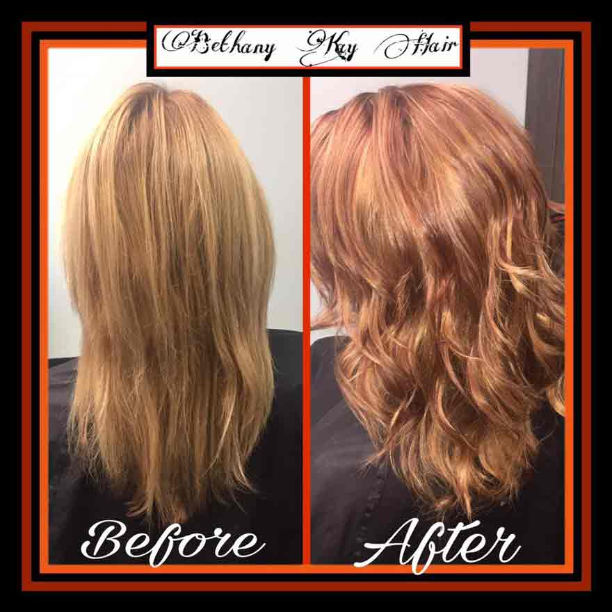 before and after beautiful coppery red