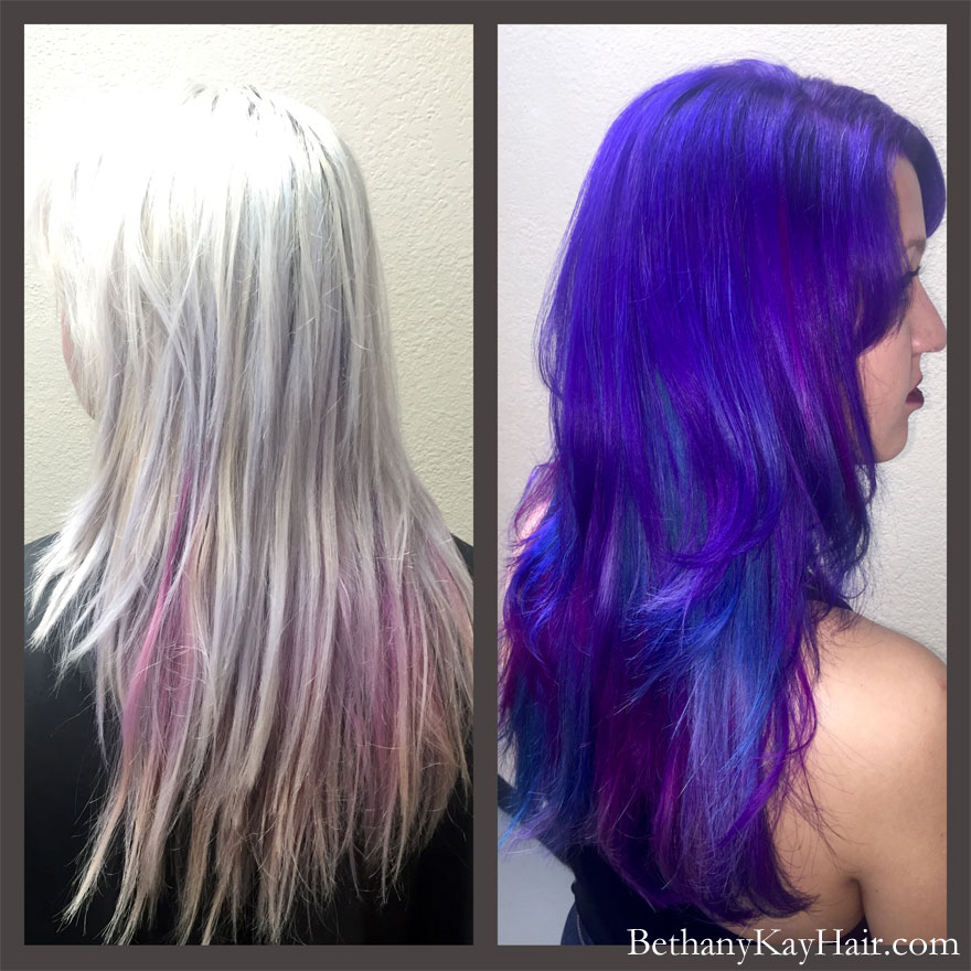Extreme transformation with fashion hair colors dark blue and purple
