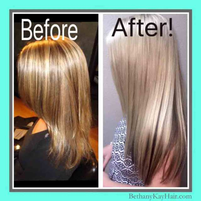before and after hair care and using quality products on her hair