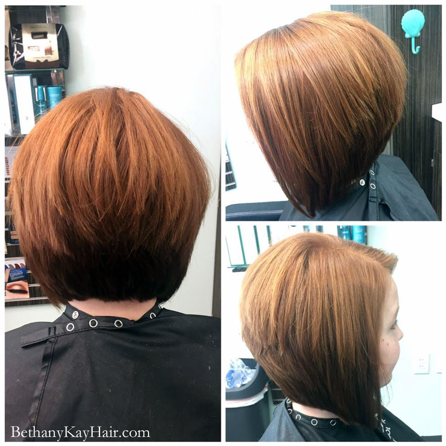 cute aline haircut and color