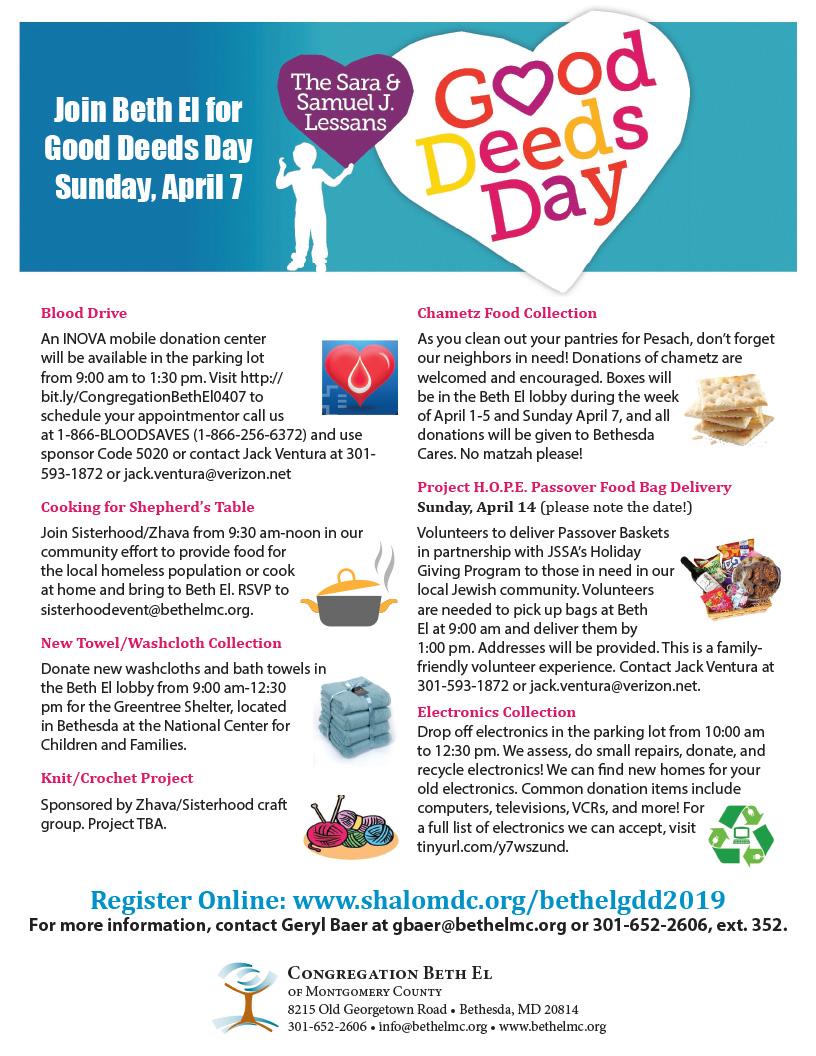 Good Deeds Day – Congregation Beth El of Montgomery County
