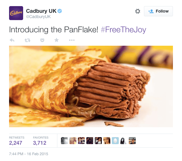 Cadbury's Panflake realtime campaign on Twitter