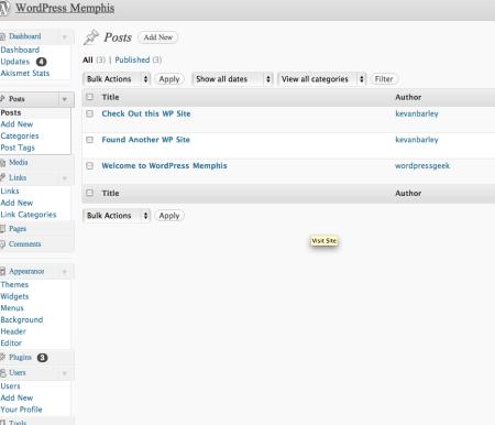 WordPress Memphis admin area