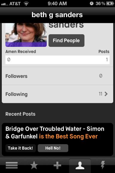 Amen app profile screen