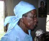 Africa-old woman in blue bandana