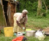 Africa-woman washing dishes
