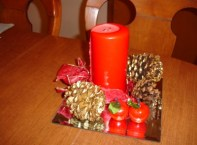 table decoration with red candle