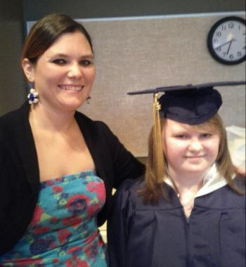 Leah's graduation - her sister Heather and Leah