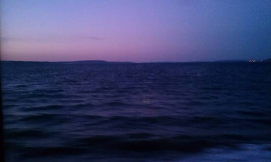 purple sky and ocean