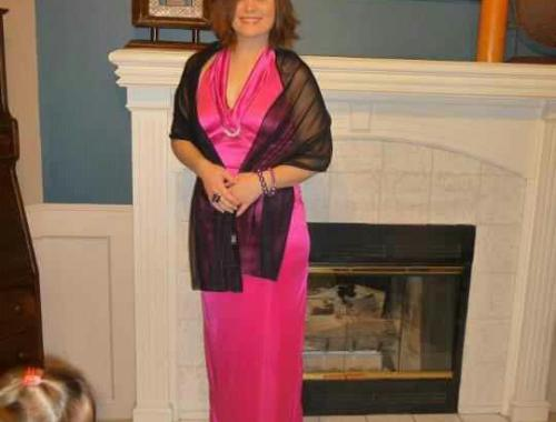 Gorgeous Heather in pink gown & purple shoes & jewelry