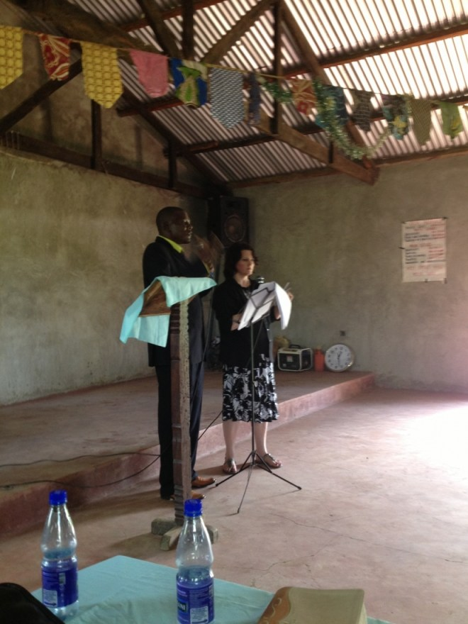 Beth Jones speaking, Kenya, Africa