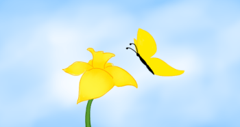 Daffodil and butterfly, Copyright 2013 Leah Jones