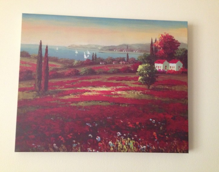 Red Italian art picture in kitchen
