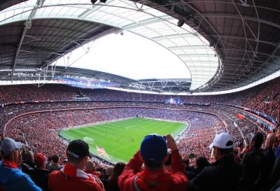 Spectators at football game