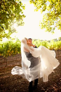Bride and Groom in vineyard