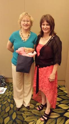 Ruth Christian, winner of red DREAM BIG coffee cup and Wild Berry Zinger tea, and me