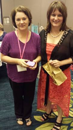 Thirty-One Gifts vendor Carol Gometz, winner of the sterling silver shoe necklace, and me