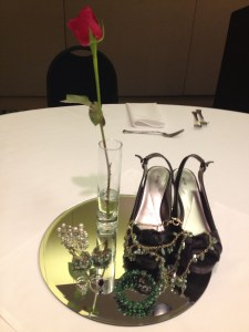 Shoes & jewelry decoration on tables The Cinderella Story conference