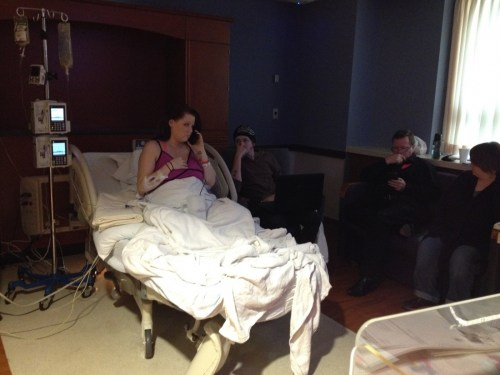 Eden on phone during labor