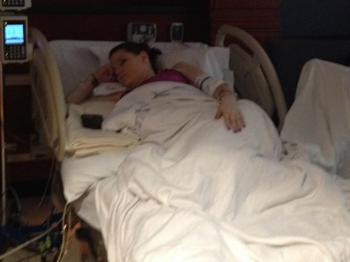Eden sleeping during labor