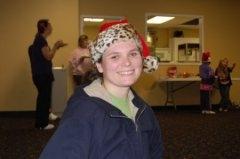 Heather in her Santa hat