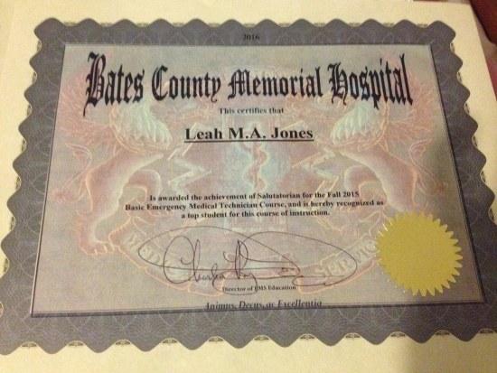 Leah's salutatorian certificate