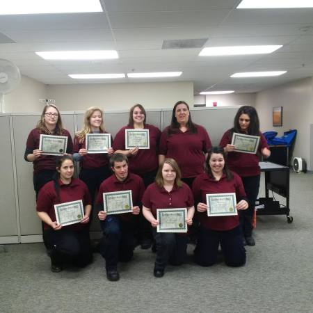 Leah's 2016 EMT class with certificates