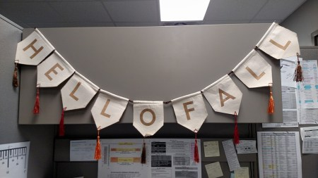 Heather's office fall decoration