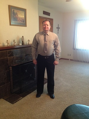 "Ray in his silver shirt & tie for our ""silver"" wedding anniversary"