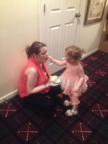 Piper feeding her mom Eden at party, haha