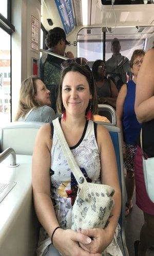 Heather riding on streetcar